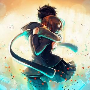 Default anime boy girl hug 1280x1024