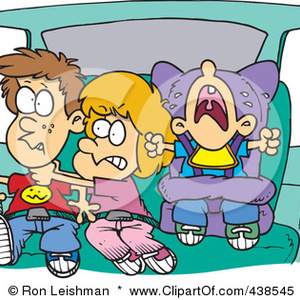 Default family car trip 438545 royalty free rf clip art illustration of cartoon siblings fighting in a car on a road trip