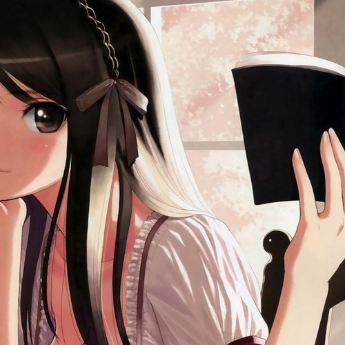 Default anime girl contemplating happily with a book