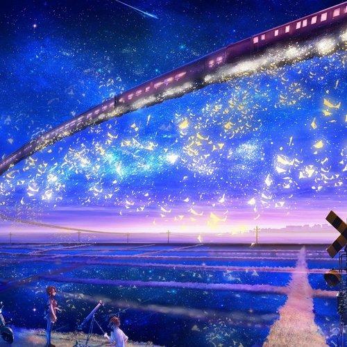 Default trains artwork fantasy art flying stars concept art anime galaxy express 999