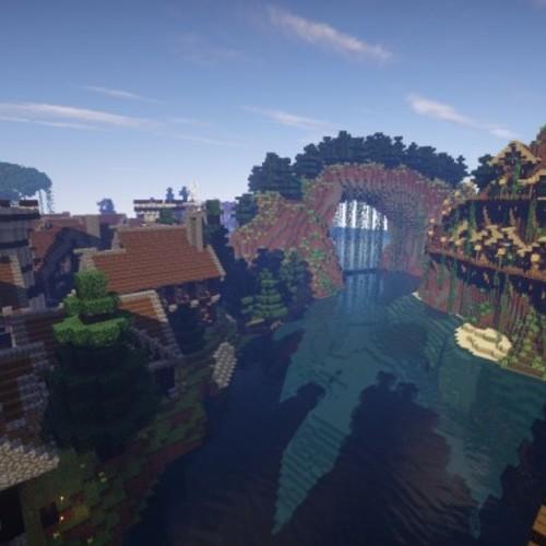 Default large medieval village minecraft building ideas town city huge house water port 5
