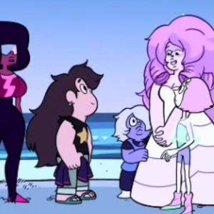 Default rose and young crystal gems with greg