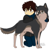 Default chibi boy and his wolf by frenchtoastie d4qchyt